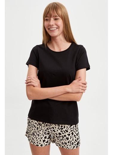 Defacto –Fit Volanlı Pijama Takımı Siyah
